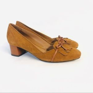 Brooks Brothers Suede Leather Bow Low Heel 8